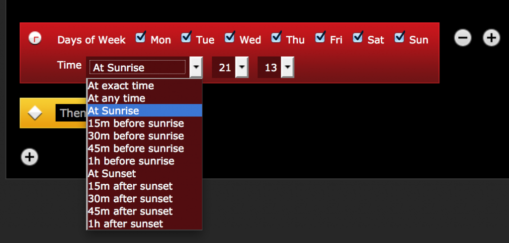 HLC24.de fibaro Sonnenaufgang Sonnenuntergang auslösen von Szenen