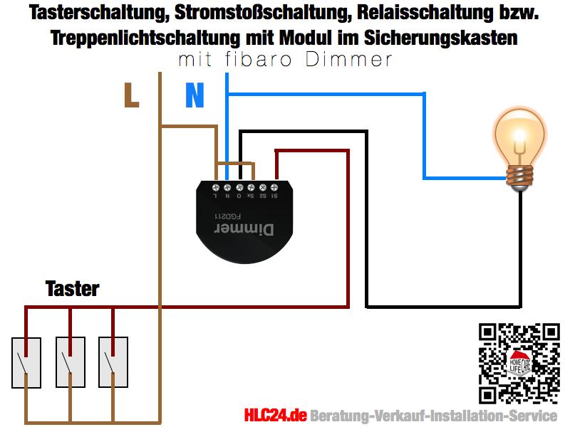 Tasterschaltung, Stromstoßschaltung, Relaisschaltung bzw. Treppenlichtschaltung mit dem fibaro Dimmer im Sicherungskasten Schaltkasten