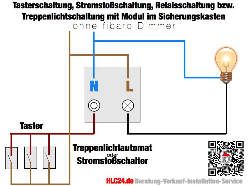 Tasterschaltung, Stromstoßschaltung, Relaisschaltung bzw. Treppenlichtschaltung ohne dem fibaro Dimmer im Sicherungskasten Schaltkasten