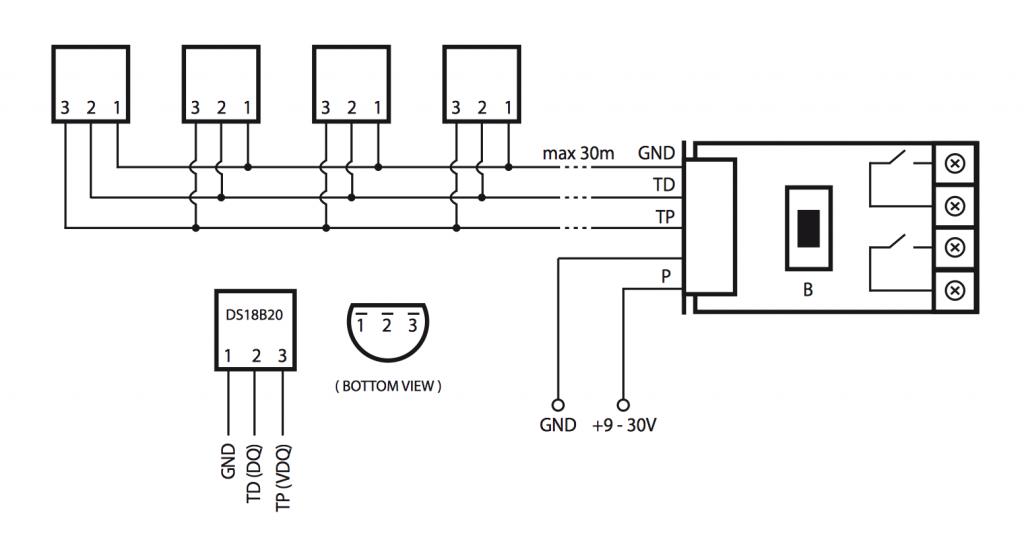 Anschlussbeispiel vier Temperatursensoren DS18B20 an fibaro Universalsensor