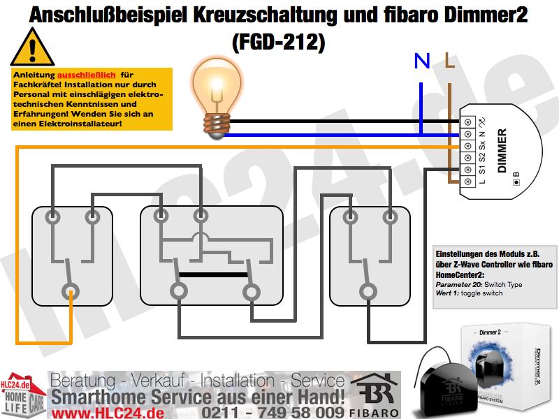 Anschlußbeispiel Kreuzschaltung und fibaro Dimmer2 (FGD-212)