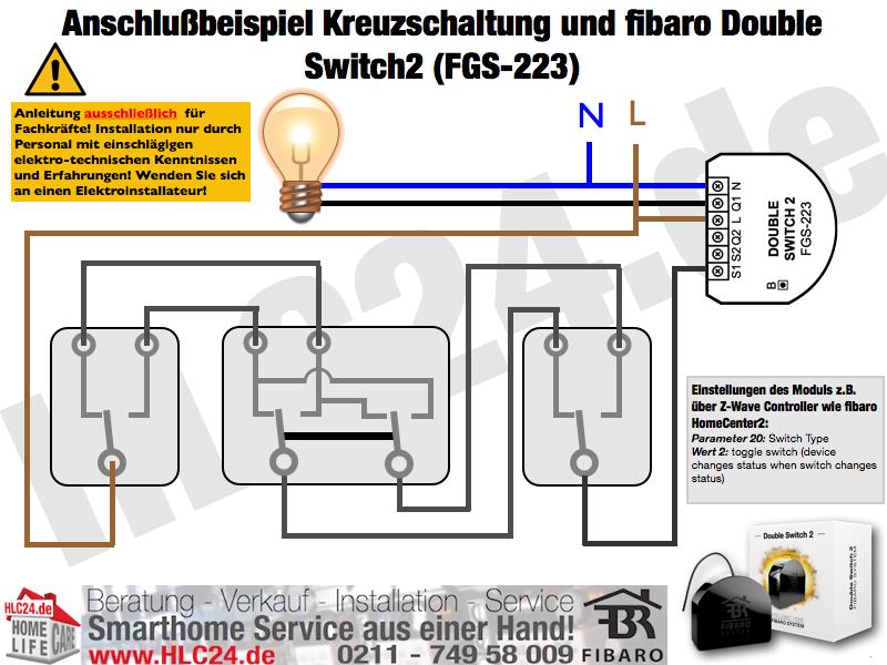 Anschlußbeispiel Kreuzschaltung und fibaro Double Switch2 (FGS-223)