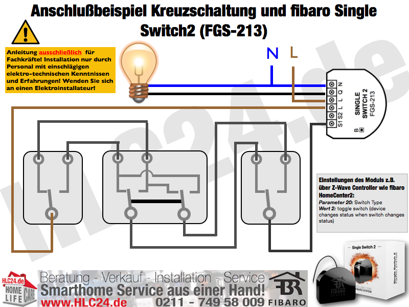 Anschlußbeispiel Kreuzschaltung und fibaro Single Switch2 (FGS-213)