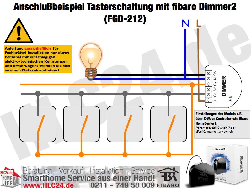 Anschlußbeispiel Tasterschaltung mit fibaro Dimmer2 (FGD-212)