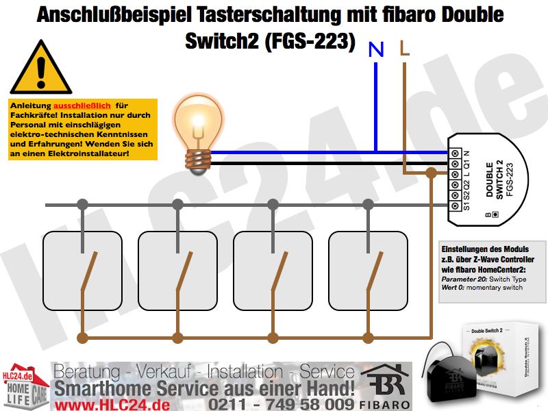 Anschlußbeispiel Tasterschaltung mit fibaro Double Switch2 (FGS-223)