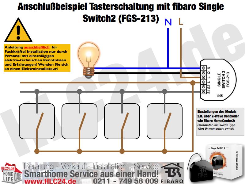 Anschlußbeispiel Tasterschaltung mit fibaro Single Switch2 (FGS-213)