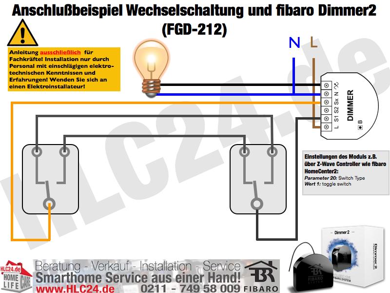 Anschlußbeispiel Wechselschaltung und fibaro Dimmer2 (FGD-212)