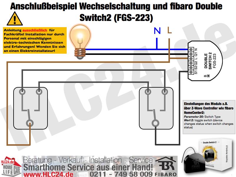 Anschlußbeispiel Wechselschaltung und fibaro Double Switch2 (FGS-223)