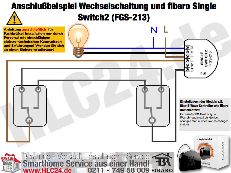 Anschlußbeispiel Wechselschaltung und fibaro Single Switch2 (FGS-213)