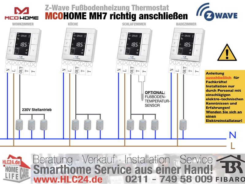 MCOHOME Fußbodenheizungsthermostat richtig anschließen ZWave Smarthome fibaro HomeCenter.001.001