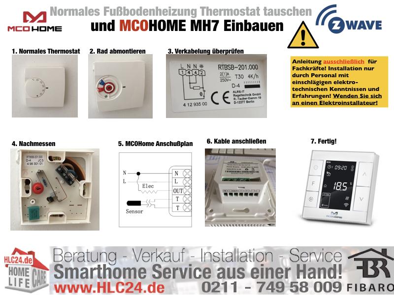 Normales Fußbodenheizung Thermostat tauschen und MCOHome einbauen Zwave fibaro Smarthome.001